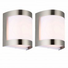 Set of 2 Brushed Chrome Outdoor Wall Lights