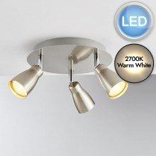 Brushed Chrome 3 Light LED Spotlight