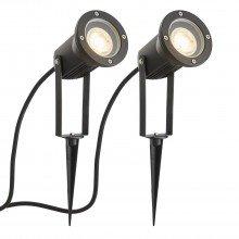 Set of 2 Black Adjustable Outdoor Spot Spike Lights