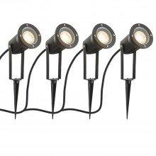 Set of 4 Black Adjustable Outdoor Spot Spike Lights