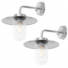Set of 2 Polished Stainless Steel Outdoor Wall Lights