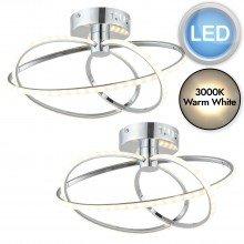 Set of 2 Chrome LED Ceiling Light Fittings