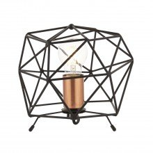 Matt Black With Copper Geometric Lamp
