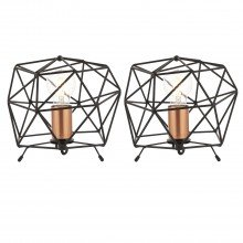 Set of 2 Matt Black With Copper Geometric Lamps