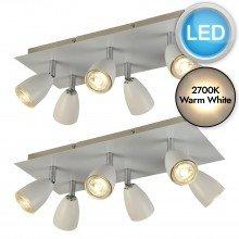 Set of 2 Matt White 6 Light LED Spotlights