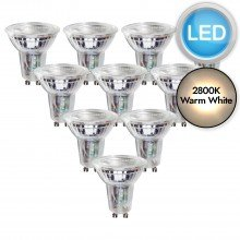 10 x 5.5W LED GU10 Dimmable Light Bulbs - Warm White