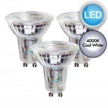 3 x 5.5W LED GU10 Dimmable Light Bulbs - Cool White