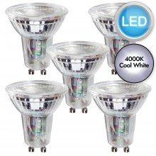5 x 5.5W LED GU10 Dimmable Light Bulbs - Cool White