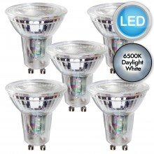 5 x 5.5W LED GU10 Dimmable Light Bulbs - Daylight White