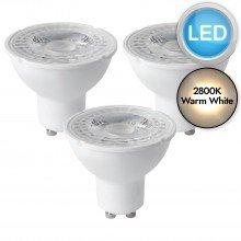 3 x 5W LED GU10 Dimmable Light Bulbs - Warm White