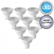 10 x 5W LED GU10 Dimmable Light Bulbs - Cool White