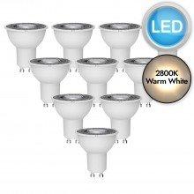 10 x 5W LED GU10 Light Bulbs - Warm White