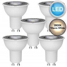 5 x 5W LED GU10 Light Bulbs - Warm White