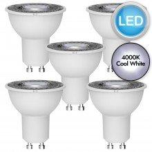 5 x 5W LED GU10 Light Bulbs - Cool White