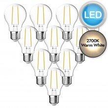 10 x 4.8W LED E27 Filament Light Bulbs - Warm White