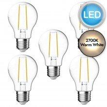 5 x 4.8W LED E27 Filament Light Bulbs - Warm White