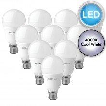 10 x 10.5W LED B22 Light Bulbs - Cool White