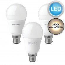 3 x 5.5W LED B22 Light Bulbs - Warm White