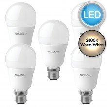 5 x 5.5W LED B22 Light Bulbs - Warm White