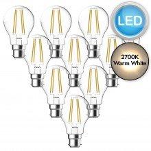 10 x 8W LED B22 Filament Light Bulbs - Warm White
