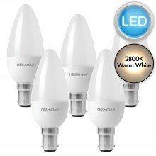 5 x 3.5W LED B15 Candle Light Bulbs - Warm White