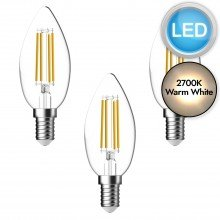 3 x 5.3W LED E14 Candle Dimmable Light Bulbs - Warm White