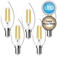 5 x 5.3W LED E14 Candle Dimmable Light Bulbs - Warm White