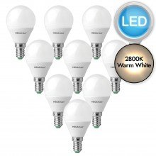 10 x 3.5W LED E14 Golf Ball Light Bulbs - Warm White