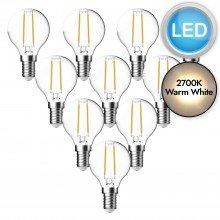 10 x 3W LED E14 Golf Ball Filament Light Bulbs - Warm White
