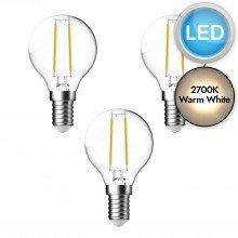 3 x 3W LED E14 Golf Ball Filament Light Bulbs - Warm White