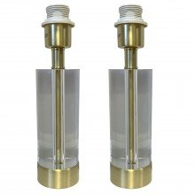 Pair of Crystal Base Only Table Lamp Bedside Light Satin Brass Detail