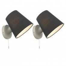 Set of 2 Beula White with Navy Shade Pull Cord Wall Lights