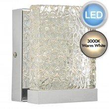 Nihan Chrome & Glass LED Wall Light
