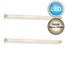 Set of 2 Lika 60cm Chrome IP44 Bathroom LED Striplights