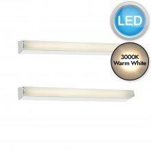 Set of 2 Lika 40cm Chrome IP44 Bathroom LED Striplights