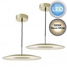 Set of 2 Enoch Gold LED Pendants