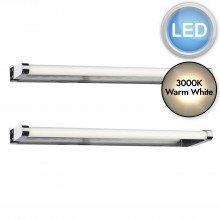 Set of 2 Flute 40cm Chrome IP44 Bathroom LED Striplights