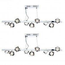 Set of 2 Union 9 Light Glass Bar Pendants