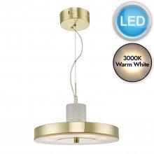 Kuopio Satin Brass & White Marble LED Pendant