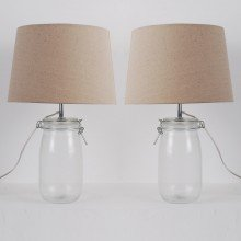 Set of 2 Clear Glass Jar 44cm Lamps