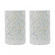 Set of 2 Pearlised Glass 17cm Table Lights