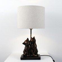 Bronze Resin Kissing Cats Lamp