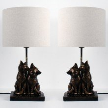 Set of 2 Bronze Resin Kissing Cats Lamps