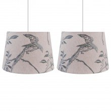 Set of 2 Songbird Linen with Duck Egg Embroidery Lightshades