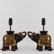 Set of 2 Burnt Sienna Resin Elephant Lamp Bases