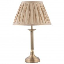Antique Brass Column Lamp with Pleated Shade