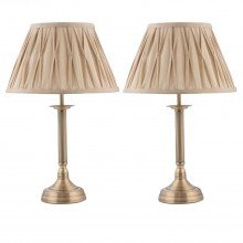 Set of 2 Antique Brass Column Lamp with Pleated Shades