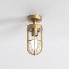 Astro Lighting - Cabin Semi Flush Frosted 1368032 - IP44 Coastal Brass Ceiling Light