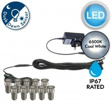 Set of 10 - 15mm Stainless Steel IP67 Cool White LED Decking Kit with Dusk til Dawn Photocell Sensor