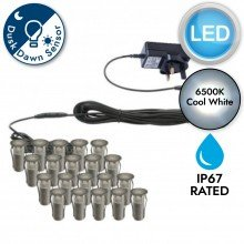 Set of 20 - 15mm Stainless Steel IP67 Cool White LED Decking Kit with Dusk til Dawn Photocell Sensor